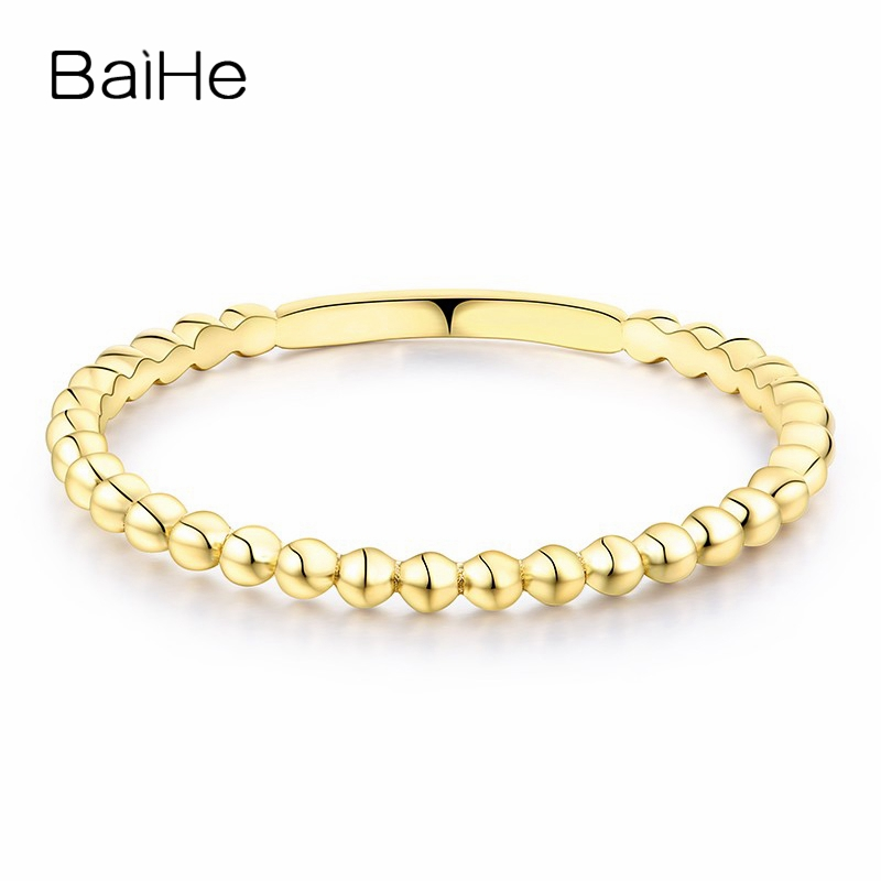 BAIHE Solid 14K Yellow Gold(AU585) Certified Wedding Bad Women Trendy Fine Jewelry Elegant unique fashion Gift Ring             BAIHE Solid 14K Yellow Gold(AU585) Certified Wedding Bad Women Trendy Fine Jewelry Elegant unique fashion Gift Ring