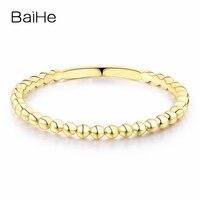 BAIHE Solid 14K Yellow Gold(AU585) Certified Wedding Bad Women Trendy Fine Jewelry Elegant unique fashion Gift Ring