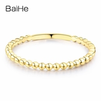 BAIHE Solid 14K Yellow Gold(AU585) Certified Wedding Bad Women Trendy Fine Jewelry Elegant unique fashion Gift Ring