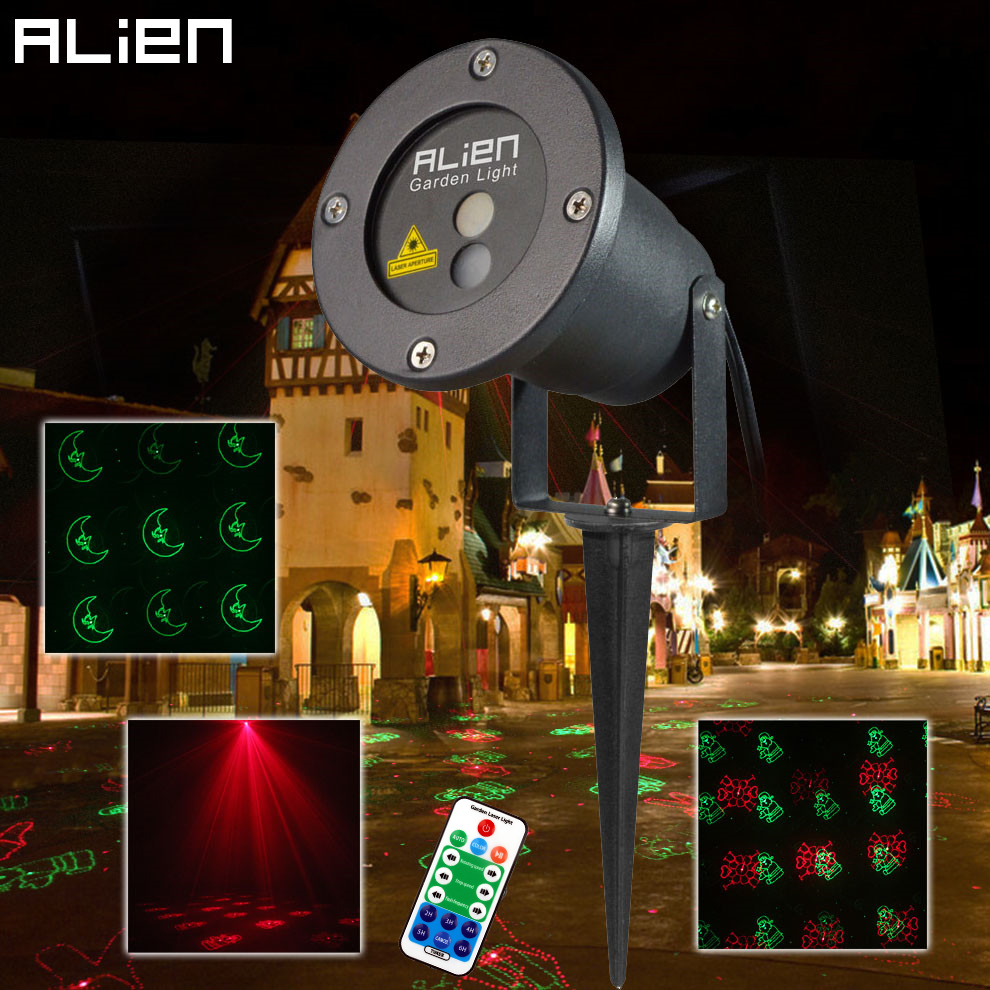 ALIEN RG 12 Pattern Red Green Christmas Lights Garden Laser Projector Outdoor Waterproof Xmas Tree Holiday Party Landscape Light beautiful alumium ip67 outdoor eu us uk plug tree garden party festival christmas decoration green red mini led laser light