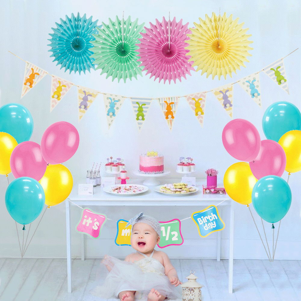 18pcs Half Birthday Party Decoration Its My 1 2 Lovely Bunny Banner Balloons 6 Months Baby Girl Boy Rainbow Decor