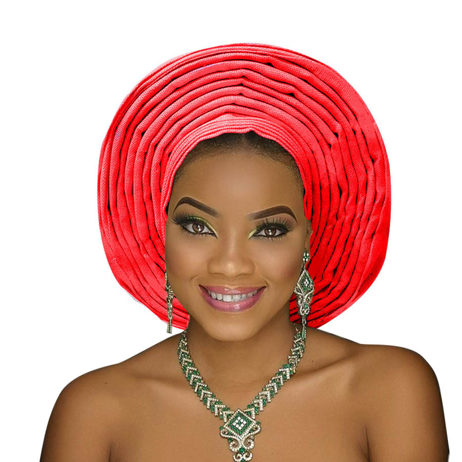 Traditional aso oke gele african headtie aso ebi head wrap for woman african turban headband already tied (17)