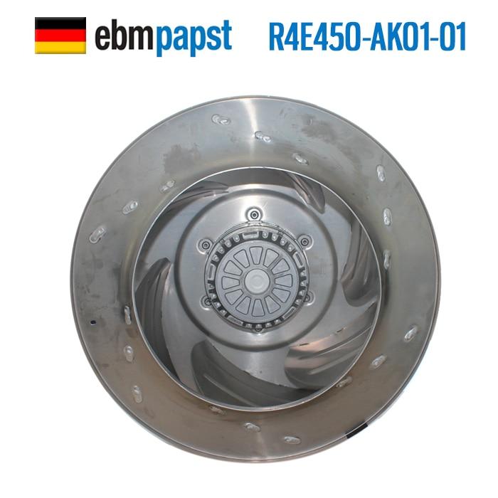 Original new ebmpapst R4E450-AK01-01 AC 230V 3A 680W 450x450mm Centrifugal cooling fan original germany ebmpapst r1g225 af11 30 48v 36 57v 95w centrifugal cooling fan