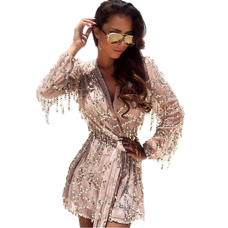 85b56543722 Sexy Deep V neck Women Rompers Jumpsuit Gold Sequin Summer Long Sleeve  Playsuit Plus Size Short Playsuits Femme Black Overalls-in Rompers from  Women s ...