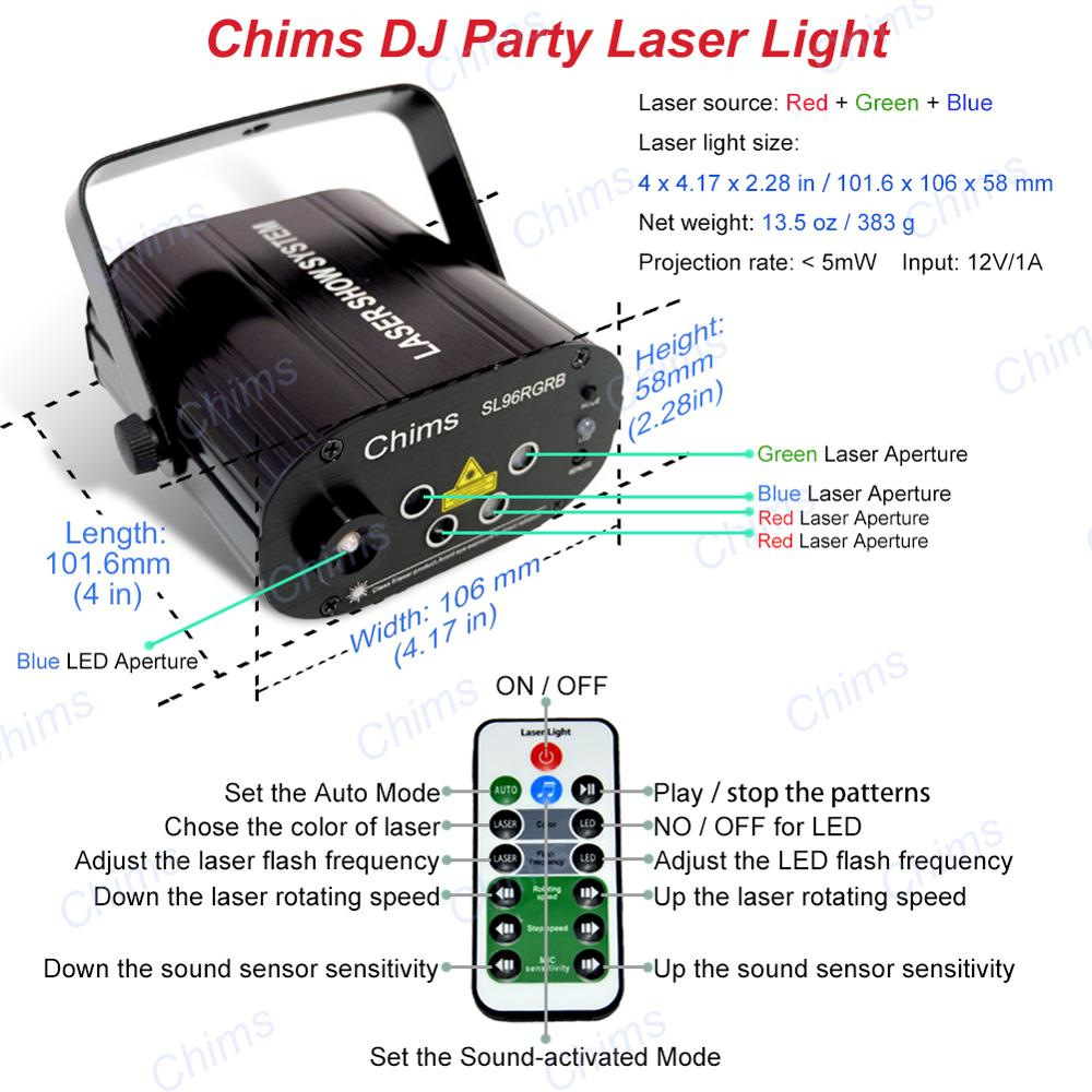 Image 5 - Chims RGB Stage Light Party Laser Light 96 Pattern Laser Projector Led Colorful DJ Music Xmas Disco Light Show Dance DJ Club Bar-in Stage Lighting Effect from Lights & Lighting
