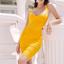 цены Ocstrade Summer Women 2019 Mango Orange Bandage Mini Dress Spaghetti Bodycon Bandage Dress Rayon Sexy Night Club Party Dresses