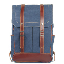 European and American Vintage canvas bag with leather shoulder backpack styles for men and women 8085