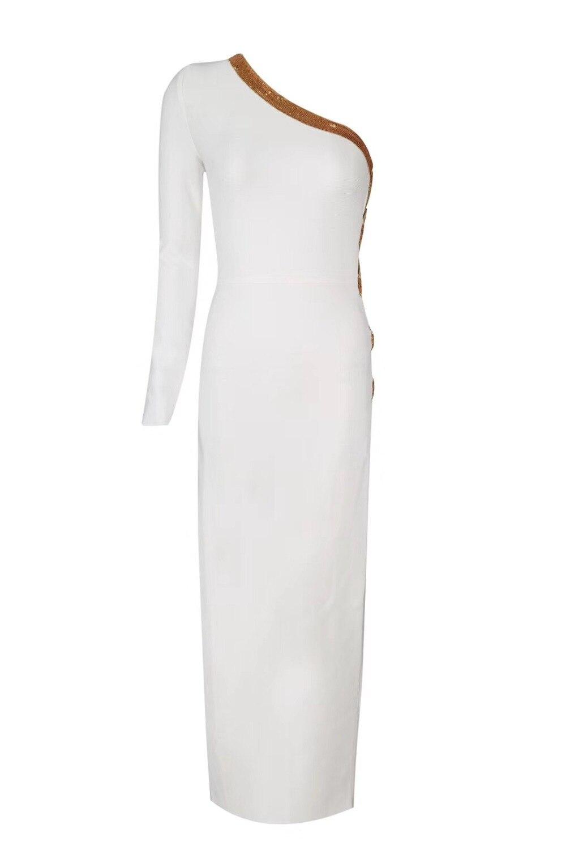 Gros Paillettes Bandage Femmes Celebrity Eveningparty Corps Dos shoulder Robe Hotsale Profonde Fente Sexy Robes En 18678one Con Blanc Nu À 54RjAL3