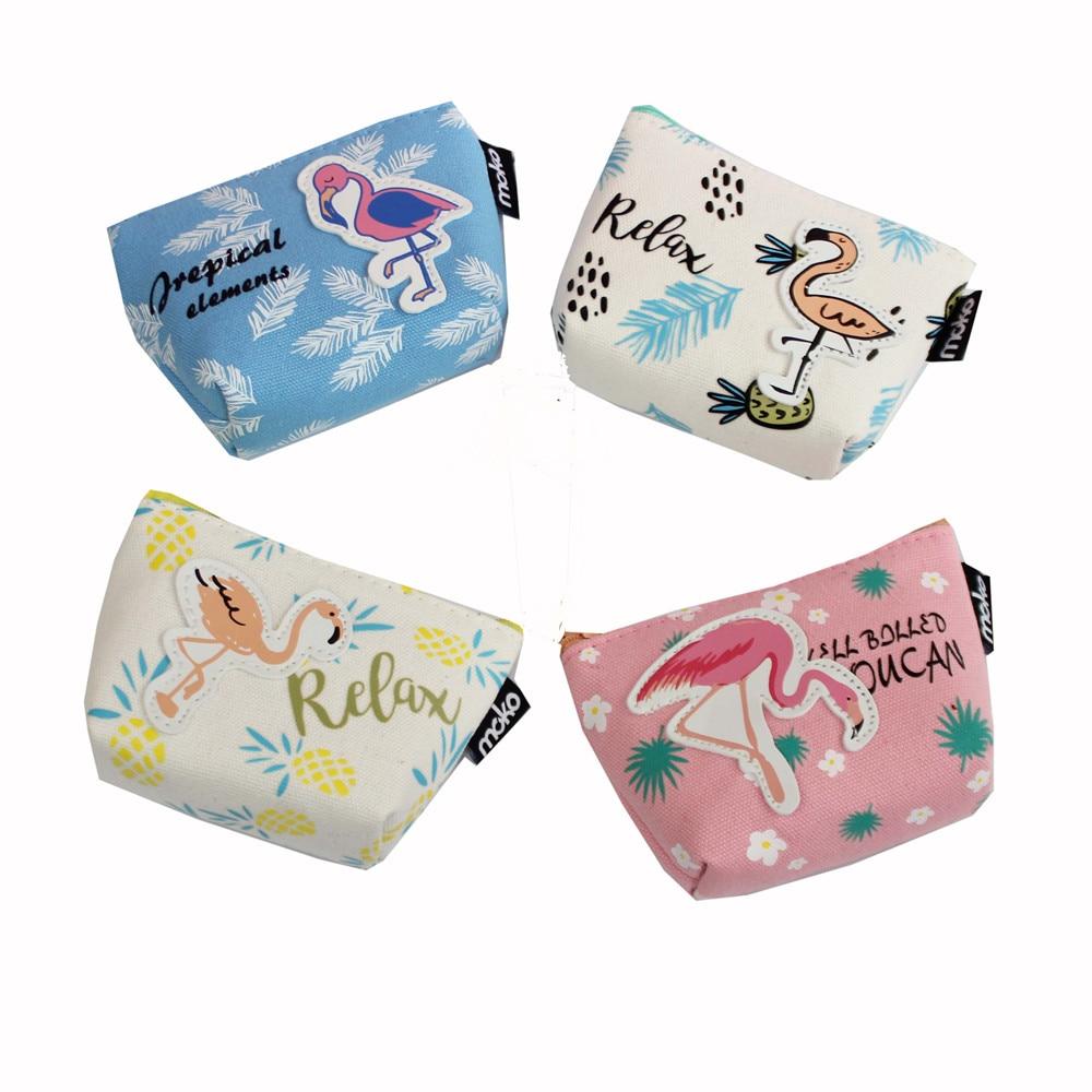 M065 2017 New Cute Women Purses Cactus Zipper Canvas Flamingo Student Mini Coin Key Zero Wallet Card Bag studio m new women medium m gray purple striped sharkbite tunic sweater $78 065