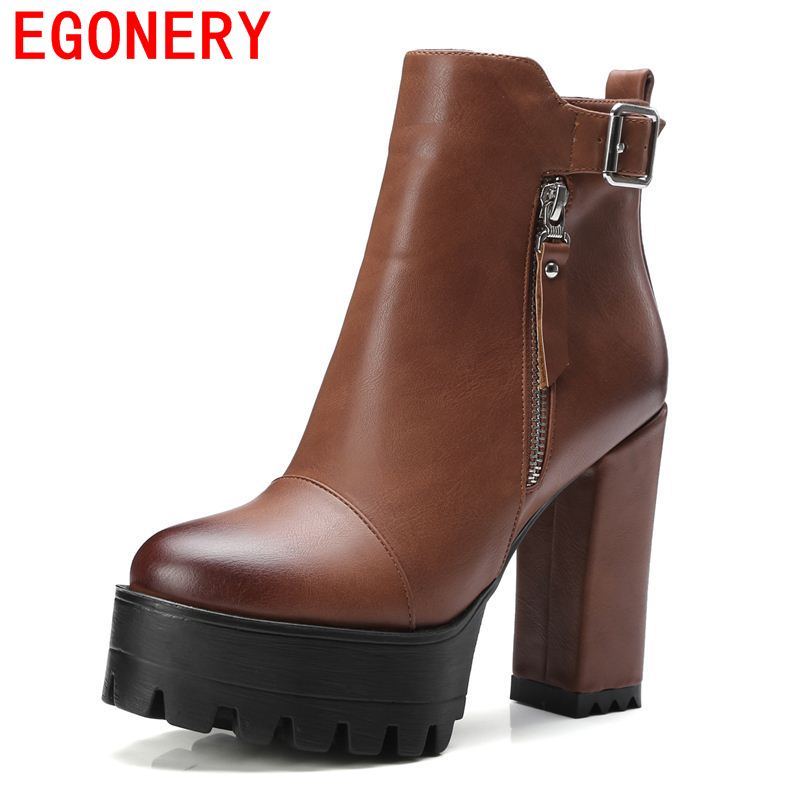 ФОТО EGONERY shoes 2017 handome women ankle boots side zipper buckle platform high heels lady fashion leisure shoes riding equestrian