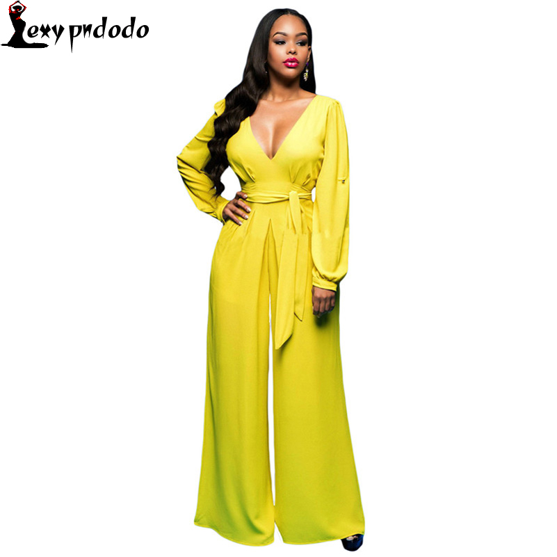Pndodo Macacao longo Fashion Sexy Rosy Belted Long Sleeves Jumpsuit Pant LC64119 Overalls Casual Women Rompers Long Playsuit NEW