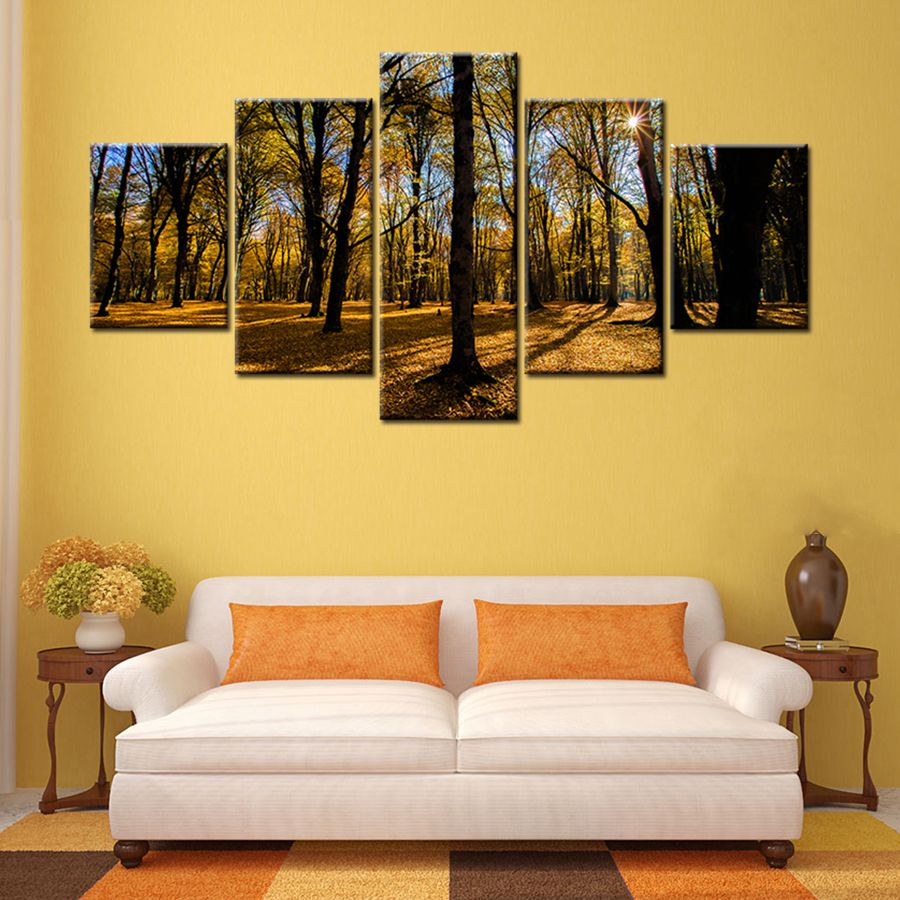 Modern Landscape Autumn Tree in Sunset Wall Decor Painting on Canvas ...