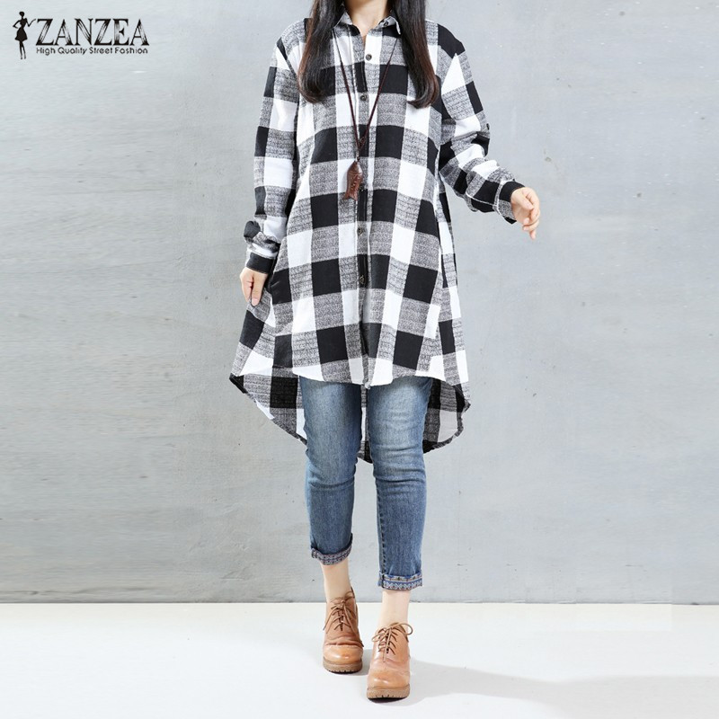 1008dfb9247dc0 ZANZEA 2018 Autumn Vintage Long Blusas Women Plaid Dress Shirts Female  Lapel Long Sleeve Loose Irregular Mini Dresses Vestidos-in Dresses from  Women's ...
