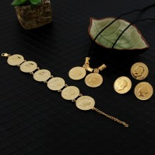 Sky talent bao Gold Coin Jewelry sets Ethiopian portrait Coin set Necklace Pendant Earrings Ring Bracelet Size black rope chain