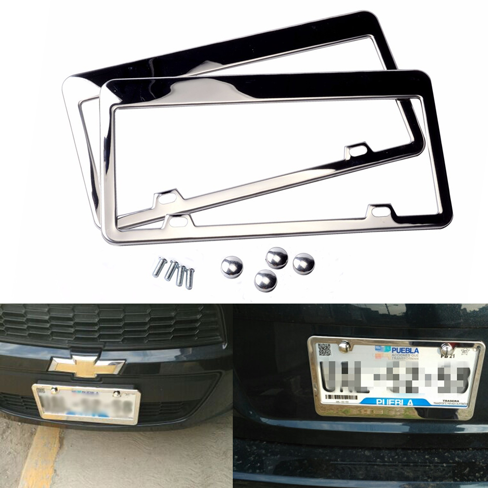 Fit Volkswagen Beetle Stainless Steel Chrome License Plate Frame with Cap