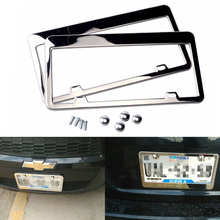 Free Shipping 2pcs Stainless Steel License Plate Frame Tag Cover Holder For Auto Truck Vehicles Only For American Canada Car fan expo canada thursday only