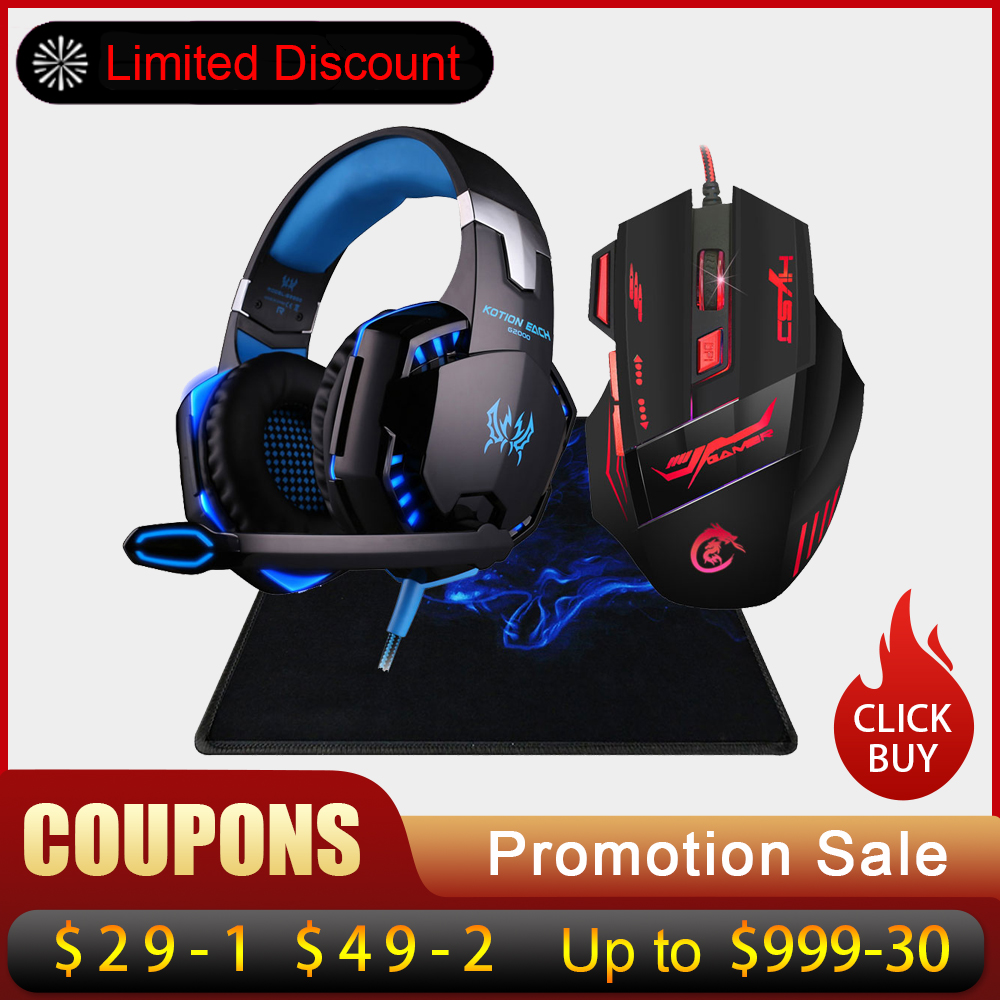 5500 DPI Gaming Mouse USB Wired Optical Game Mice Adjustable 7 Buttons 7 Color LED Backlight+Over-ear Headphone Headset Earphone