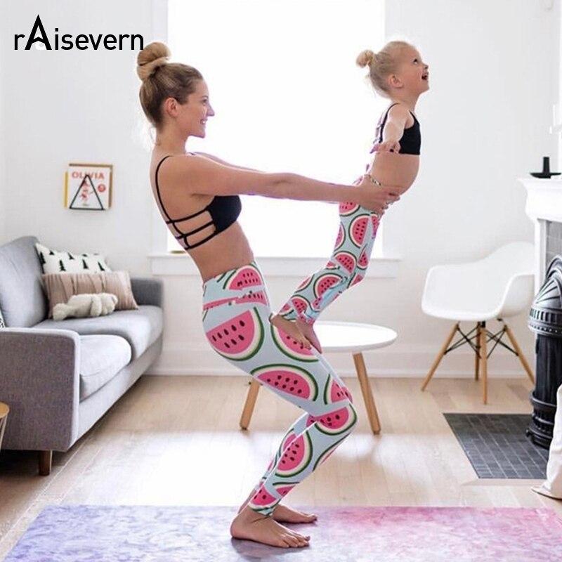 New Fashion 2018 Cute Watermelon Printed Fitness Elastic   Leggings   Women Workout Mid Waist Pants Fitness Elastic   Leggings