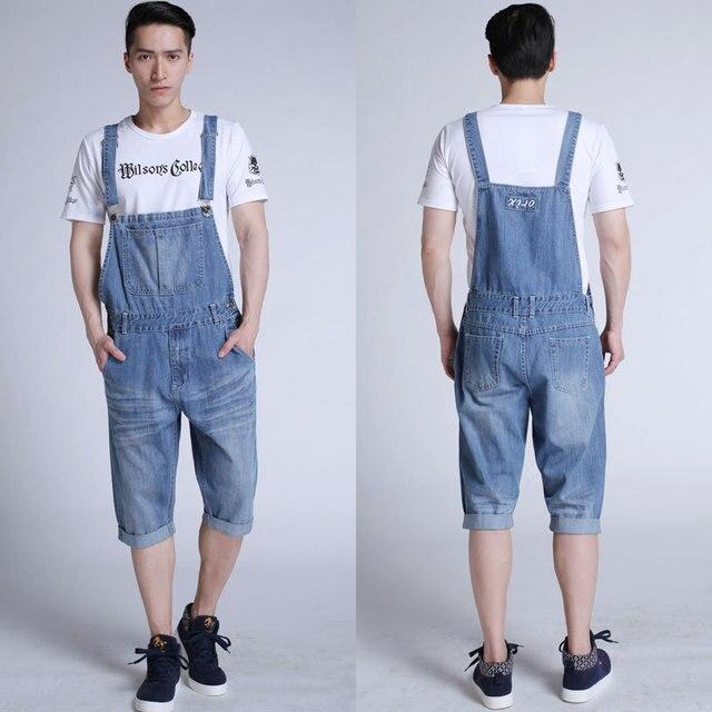 Man Plus Size Knee Length Jeans Bib Pants High Waist Baggy Denim ...
