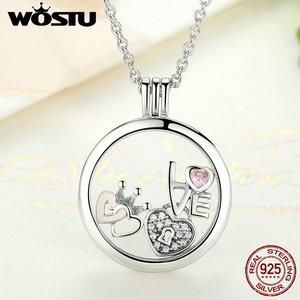 Image 4 - Hot Sale 100% 925 Sterling Silver Floating Medium Pendant Necklaces Fit 7 Style Petite Charms For Women DIY Jewelry CRF001