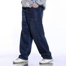 Plus Size Baggy Hip Hop Jeans Big Men Casual Straight Loose Fit Jeans For Men Dark Blue Denim Pants 38 40 42 44 46