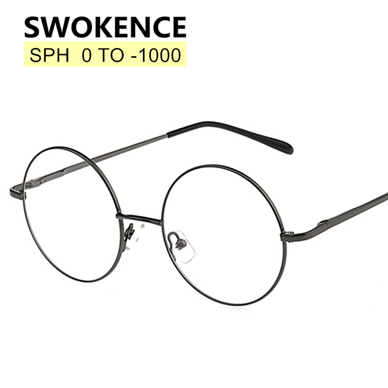 SWOKENCE SPH 0 to -10 Myopia Glasses Customizable Men Women Round Alloy Frame Prescription Spectacles For Shortsighted WP002(China)