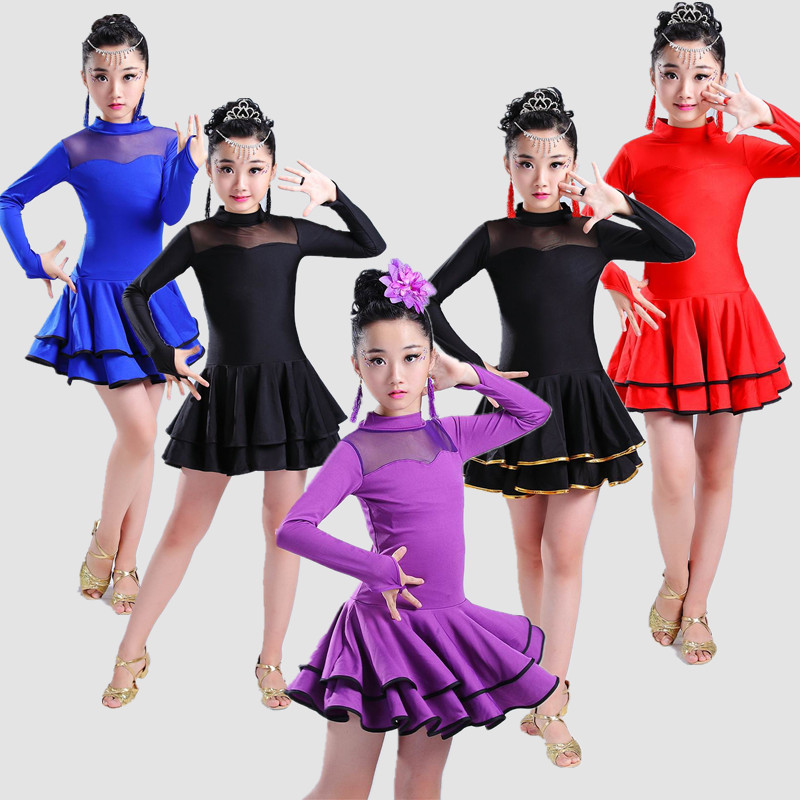 Children Professional Latin Dance for Girls Salsa Tango Ballroom Dance Dress for Kids Dancewear Professional Stage Costumes