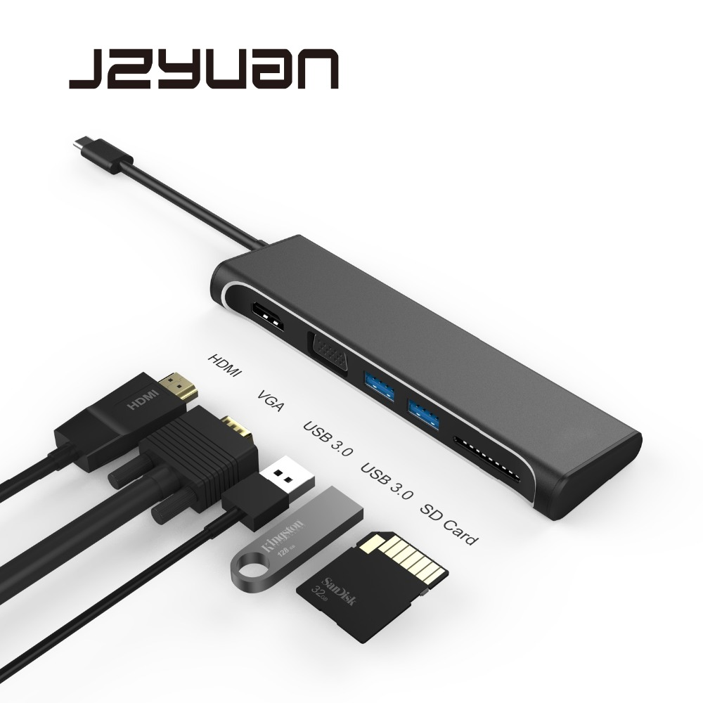 JZYuan USB HUB USB C to HDMI 4K VGA 1080P With SD Card Reader Type-C USB 3.0 HUB Thunderbolt 3 Adapter For Macbook Samsung S9/S8 usb c to hdmi vga usb 3 0 hub type c to hdmi vga adapter with 3 usb 3 0 port for new macbook samsung s8 plus lenovo thinkpad p5