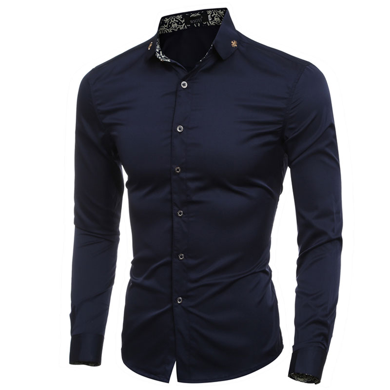 Formal cross badge decor collar solid mens dress shirts for Mens fitted long sleeve dress shirts