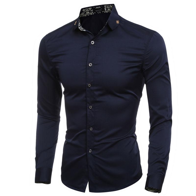 Formal cross badge decor collar solid mens dress shirts for Dress shirt collar fit