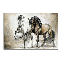 Animals Horse Frame DIY Painting By Numbers Wall Art Picture Acrylic Canvas Painting For Home Decoration(China)