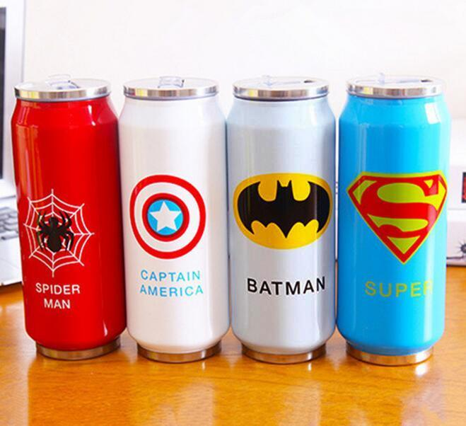 New Heros League Vacuum Flasks Straw Water Bottle 450ml Stainless Steel Thermos Mug Beverage Can Thermocup