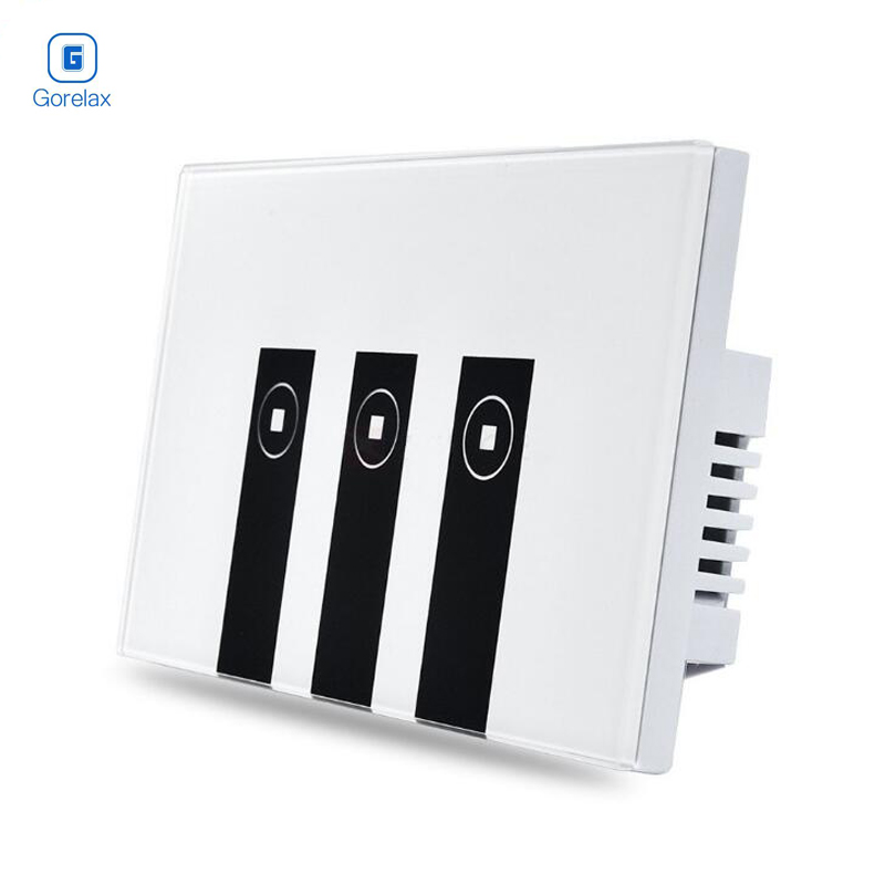 Gorelax Smart Home Automation Module Wireless Wif Remote Control Wall Light Touch Timer Switch 3 gang with Crystal Glass Panel