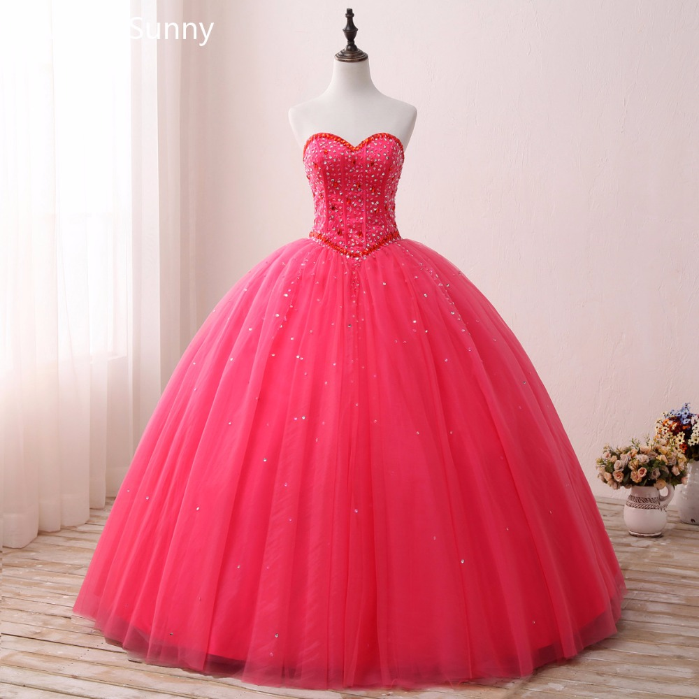 2018 New Red Ball Gown Quinceanera Dresses Appliques Beaded Sweet 16 ...