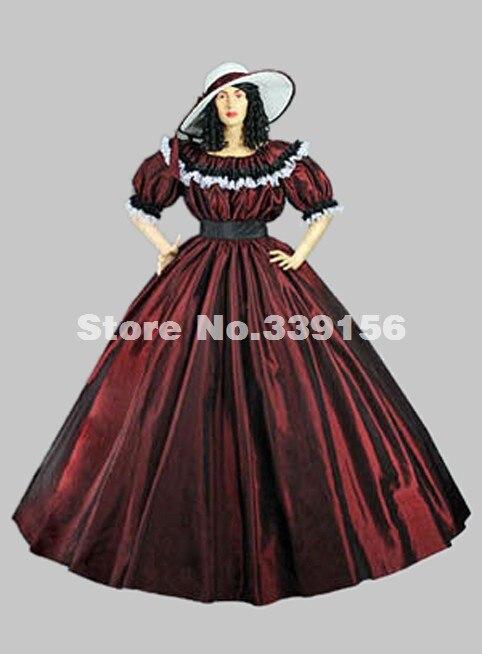 50f18fdfd59643 De Bleu Guerre Vin Civile Rouge 17ème Médiévale Robe Gothique rouge ...