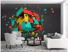 3D Wallpaper Custom Any Size Mural Wallpaper Colorful cubes abstract space 3d background wall Home Decor Living Room Wall custom photo wall mural 3d stereoscopic wallpaper for living room ktv bar space capsule background decor wallpaper 3d wall mural