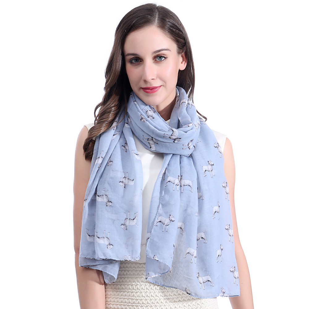 10pcs lot Bull Terrier Dog Printed Scarf Shawl Wrap Soft Lightweight Large Size
