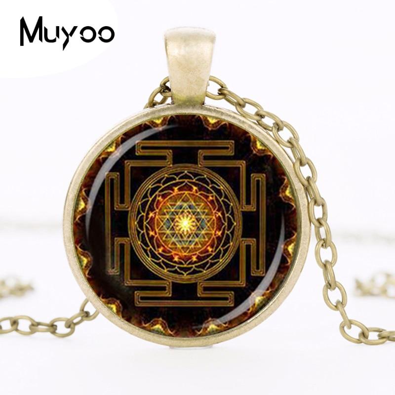 Steampunk Sri Yantra Mandala Glas Dome Hängsmycke Halsband DIY - Märkessmycken - Foto 2