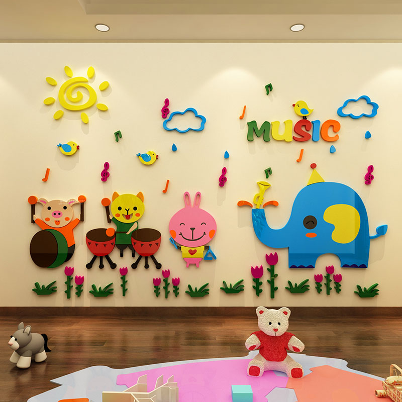 Elephant Kitty Rabbit Pig Are Playing Music Design Acrylic Wall Stickers DIY Sticker for Kindergarten School Wall Decorations
