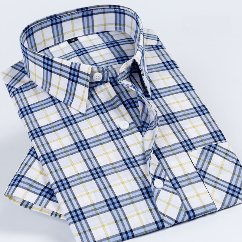 Summer Short Sleeve England Style Checked Design Leisure Easy Care Breathable Regular Fit  Younger Boy/mens Casual Plaid  Shirts