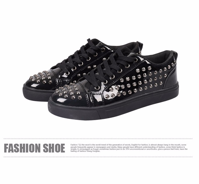 Fashion Patent Leather Men\'s Loubuten Shoes Zapatillas Superstar Casual Low Top Rivets Men Shoes Size 39-44 Round Toe Flats F13 (7)