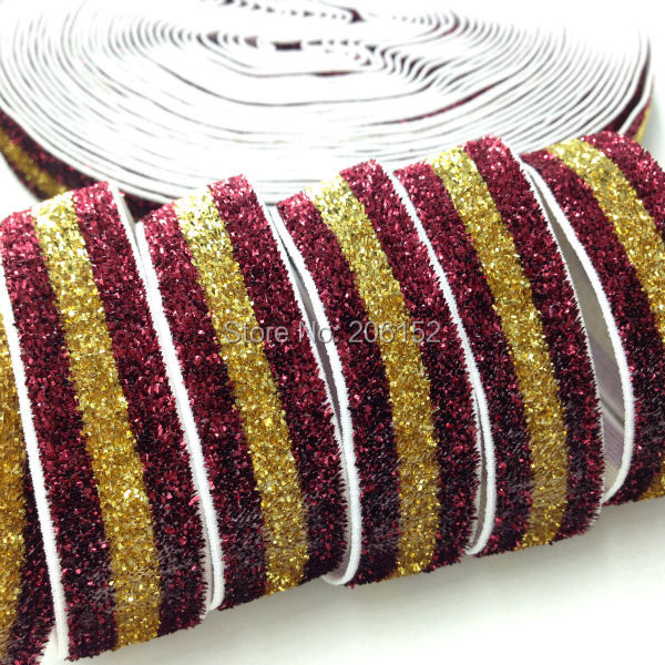 Gold Maroon Stripe Glitter Elastic 5/8 Glitter Elastic Trim Fold Over Elastic Ribbon for DIY Headwear Hair Accessories 10Y/lot