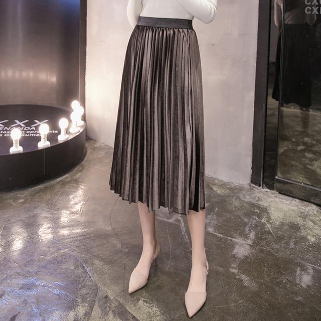2017 primavera saia longa de veludo moda escritório saia de cintura alta saia plissada quente vintage mulheres