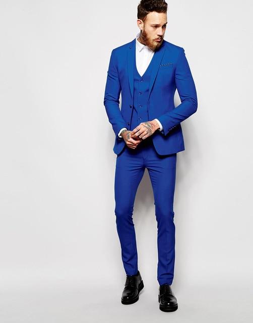 Italienischen Stil Royal Blue Bräutigam Smoking Slim Fit Herren ...