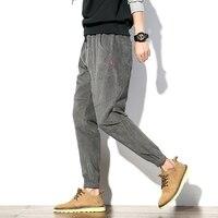 Autumn Joggers Harem Pants Men Fashion 2017 New Men Casual Pants Personality Patch Design Corduroy Loose