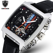 TOP Automatic Self Wind Mechanical Genuine Leather Stainless Steel Black Orange