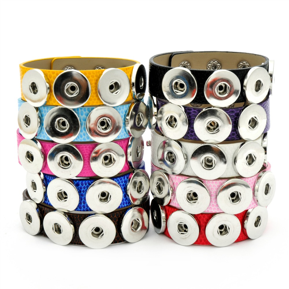5pcs 10-color leather button snap jewelry personality bracelet fit 18mm snap button jewelry accessories