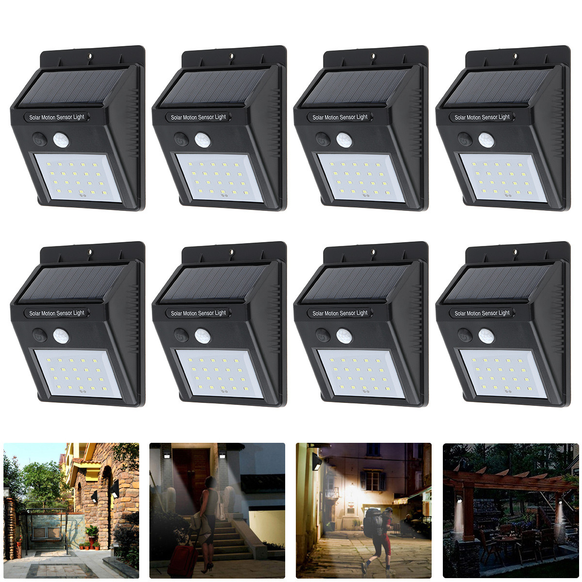 8pcs Rechargeable 20 LED Solar Power Lamp PIR Motion Sensor Waterproof Security Wall Light for Outdoor Garden Yard Driveway Path solar motion sensor light with 60 led rechargeable wireless led security lights with 3 modes for garden patio yard driveway