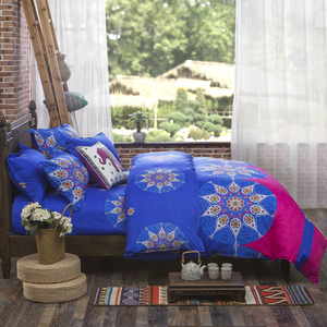 Image 3 - 4 pçs/set Bohemian Oriental Mandala conjunto beding eid lençóis fronha folha de cama Colcha Conjunto Capa de Edredon Folha Plana jogo de cama