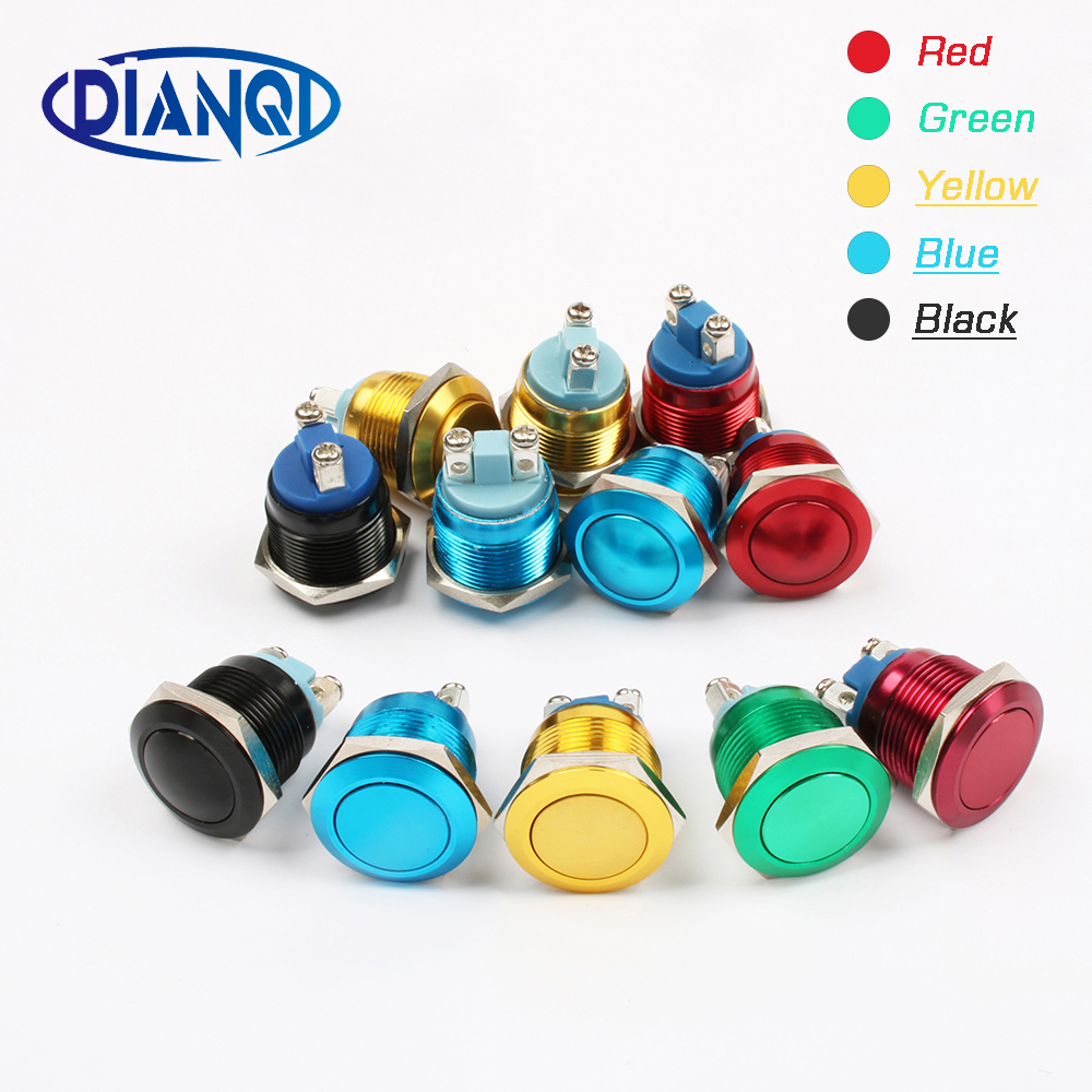 19mm Metal Oxidized Push Button Switch 1NO auto reset press button screw terminal flat round momentary black blue 19QYPY.F.L szgaoy ac250v dc12v red led reset push button switch w terminal silver red